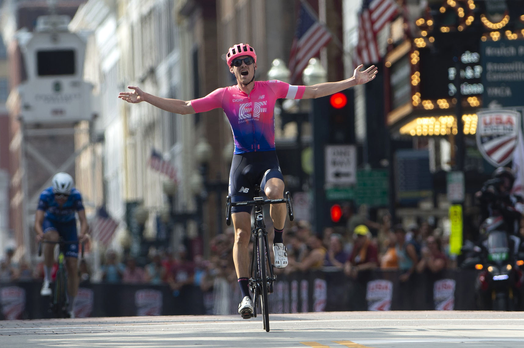 Alex Howes wins the national championship in the road race, 2019